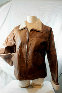 KC Collections Brown Leather Faux Fur Collar D13